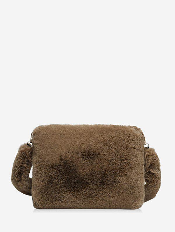 Solid Faux Fur Rectangle Crossbody Bag - COFFEE