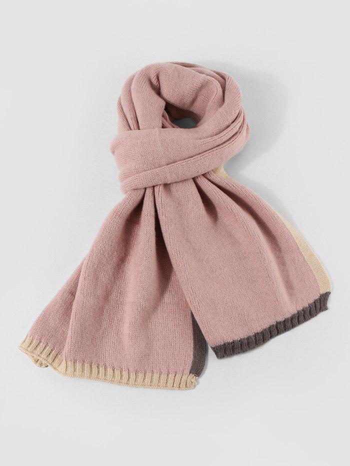Colorblock Winter Knitted Scarf - LIGHT PINK