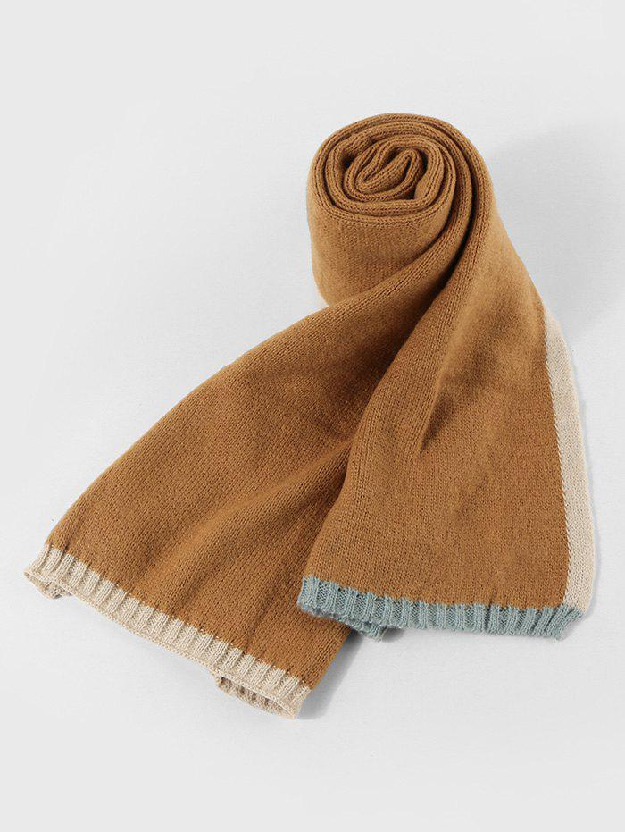 Colorblock Winter Knitted Scarf - BEE YELLOW
