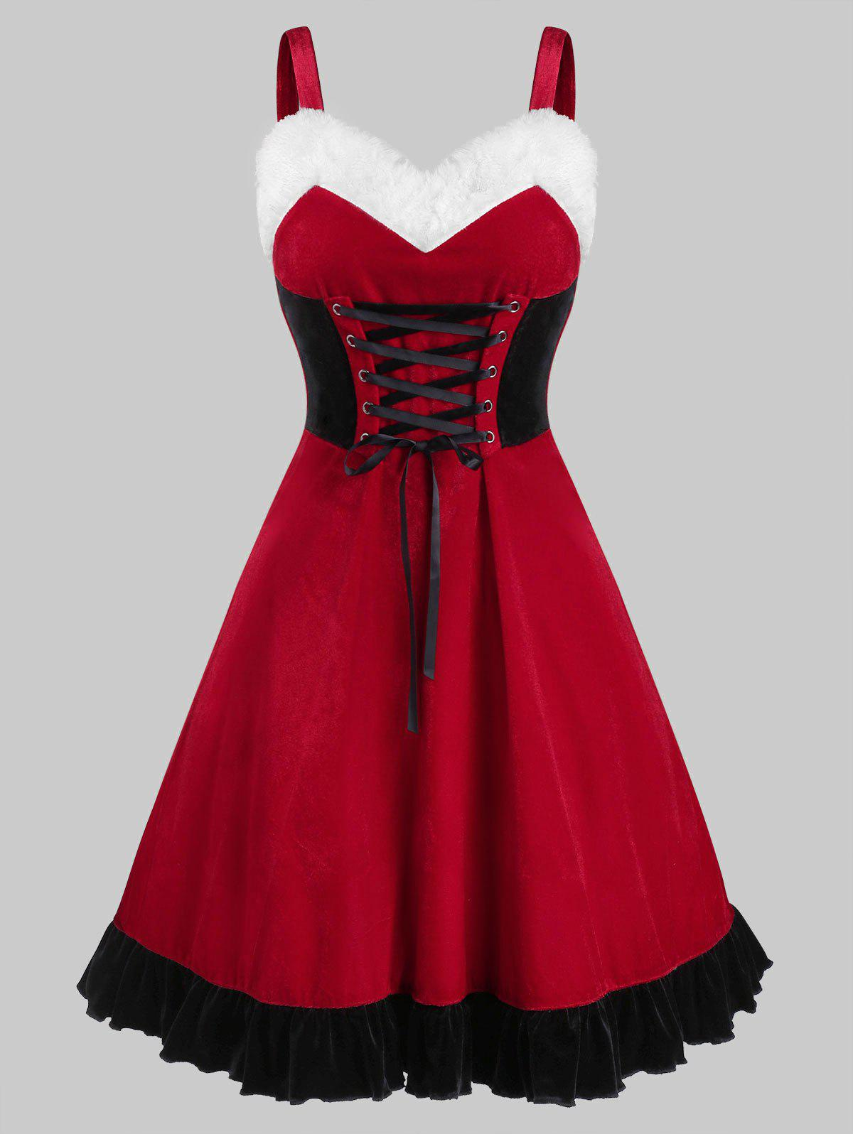 Lace Up Velvet Christmas Dress - RED XL