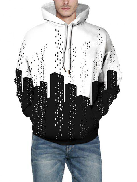 Abstract City Building Print Pullover Hoodie