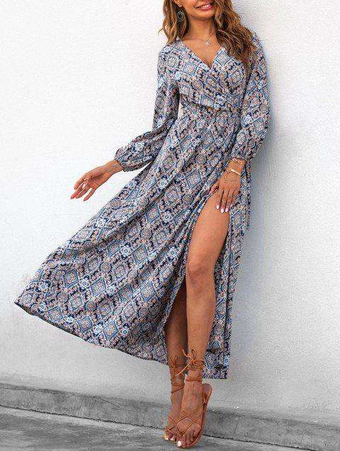 Flower Print Maxi Wrap Dress