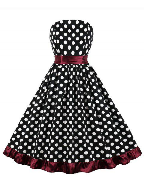 Belted Polka Dot Strapless Party Dress