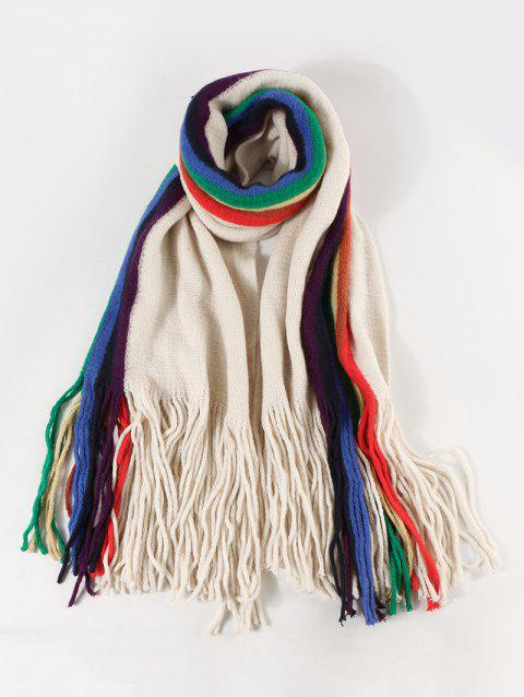 Stripe Rainbow Color Fringe Knitted Scarf