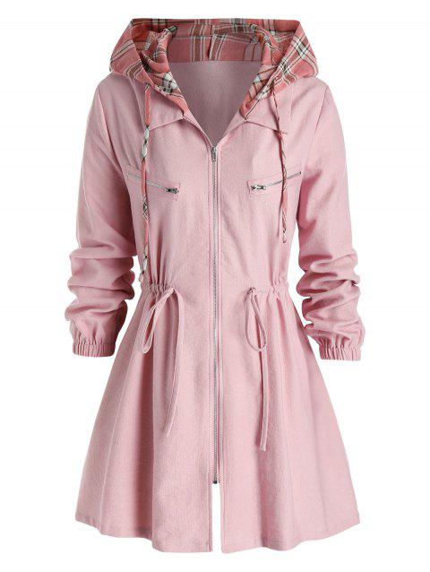 Plus Size Checked Hooded Drawstring Zipper Coat