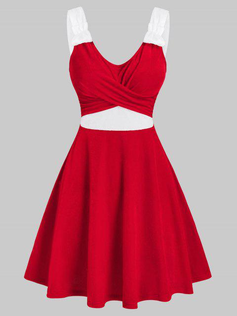 Christmas Crossover Front Contrast Velour Dress