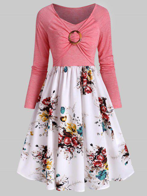 Floral Print Ruched O Ring Dress