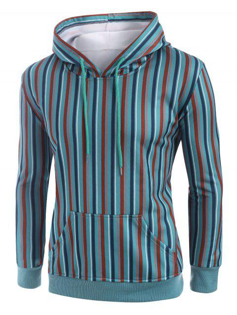 Fleece Lined Colorful Striped Front Pocket Hoodie