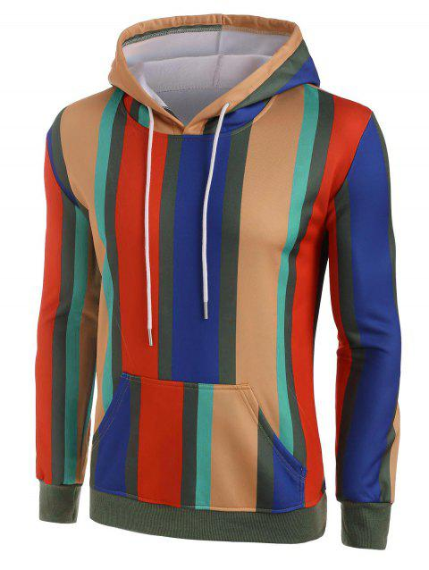 Colorful Striped Fleece Lined Front Pocket Hoodie