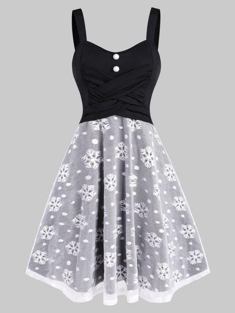 Christmas Snowflake Mesh Crossover Dress