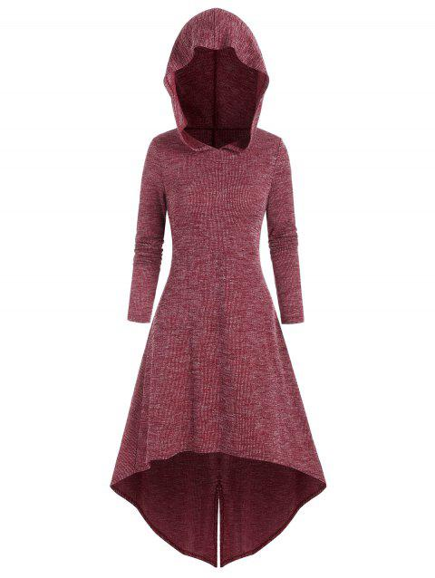Hooded High Low Knitted Midi Dress