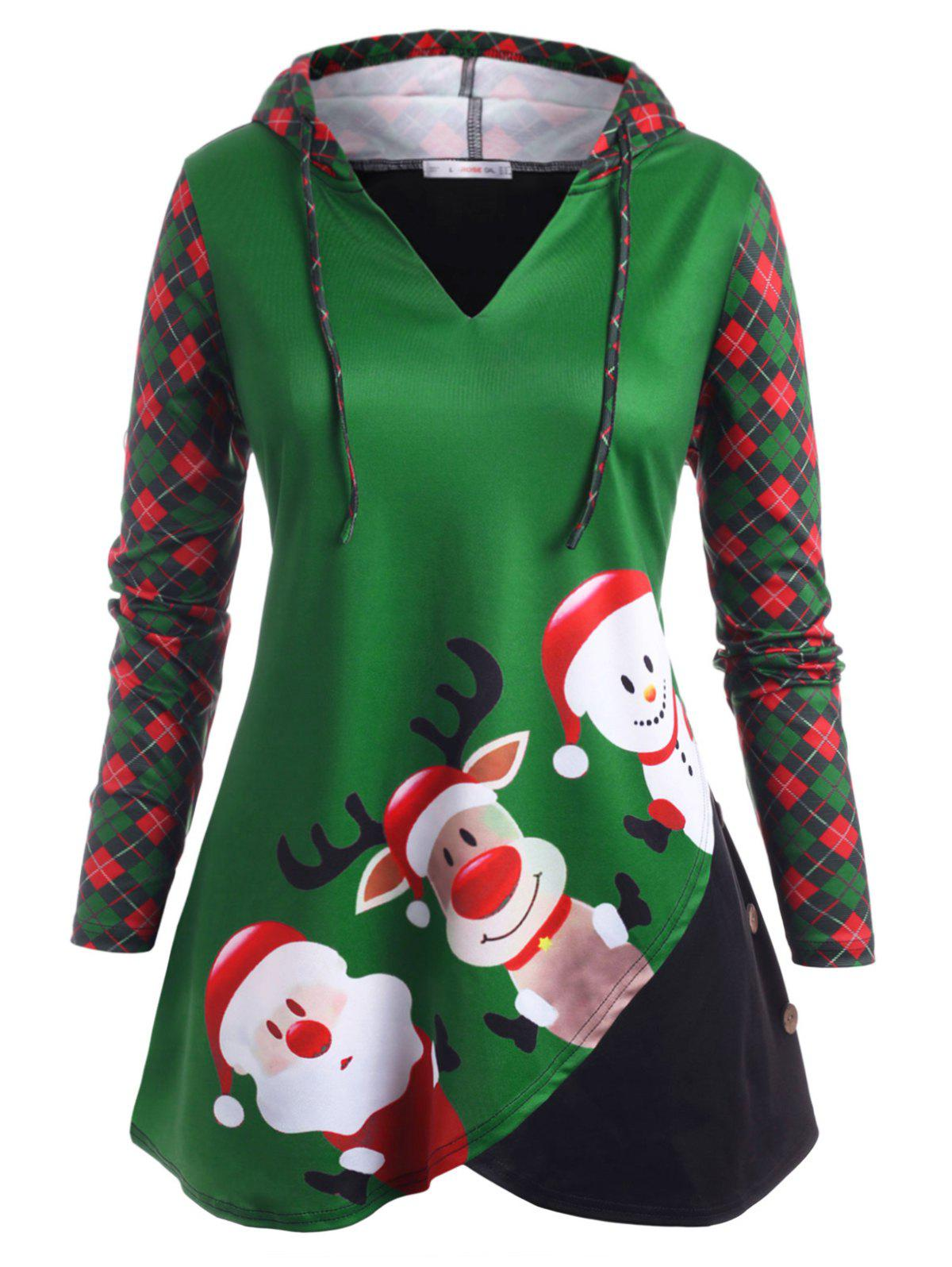 Snowman Plaid Panel Drawstring Christmas Plus Size Hoodie - GREEN 3X