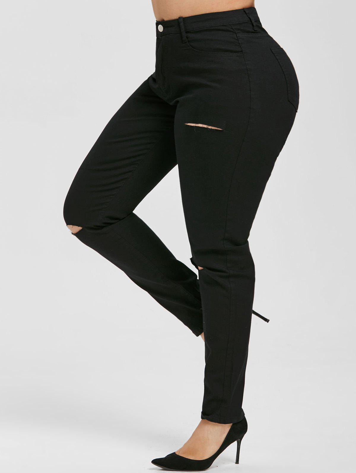 Distressed Cutout High Waisted Plus Size Skinny Jeans - BLACK 2XL