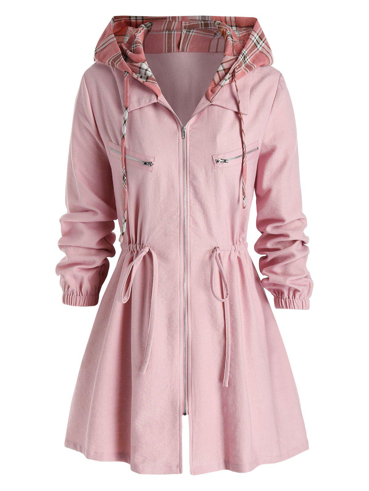 Plus Size Checked Hooded Drawstring Zipper Coat - PINK 5X