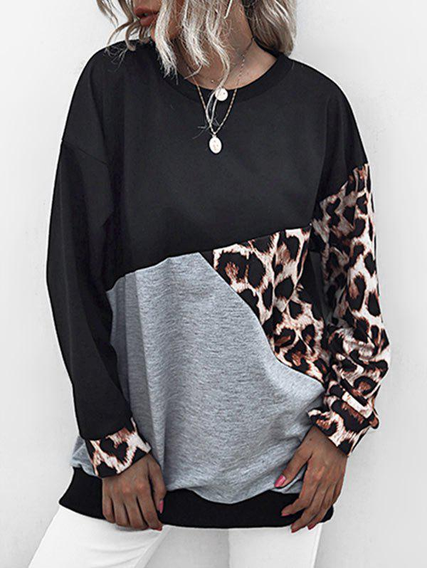 Leopard Insert Colorblock Oversized Sweatshirt - BLACK XL