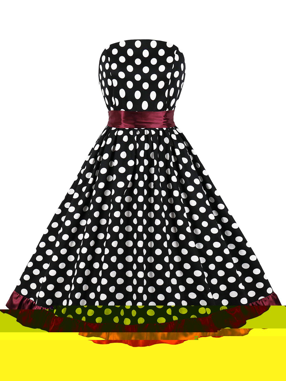 Belted Polka Dot Strapless Party Dress - BLACK M