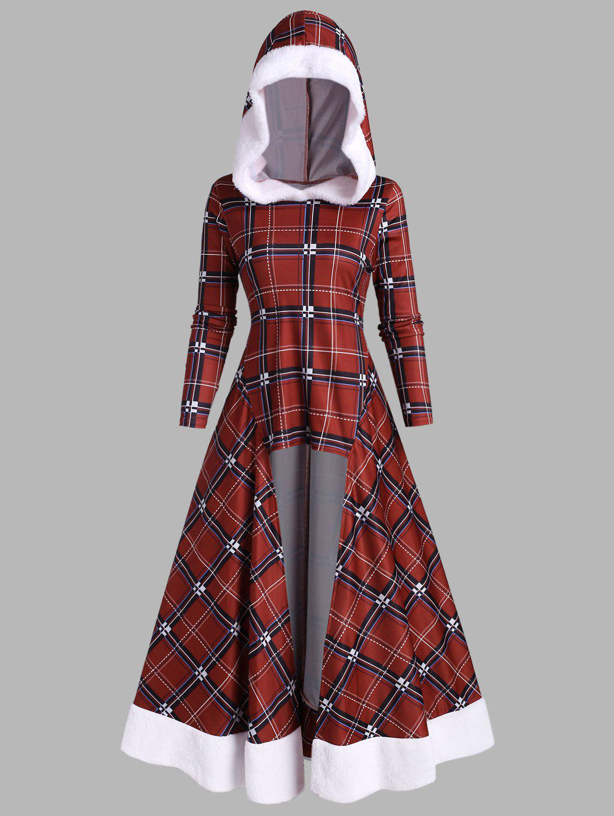 Christmas Faux Fur Insert Plaid High Low Long Top - RED WINE L
