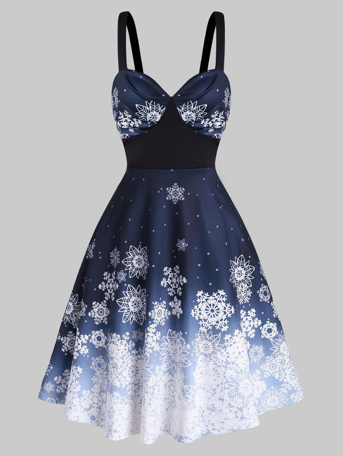 Christmas Snowflake Print Ombre Fit and Flare Dress - multicolor A XL