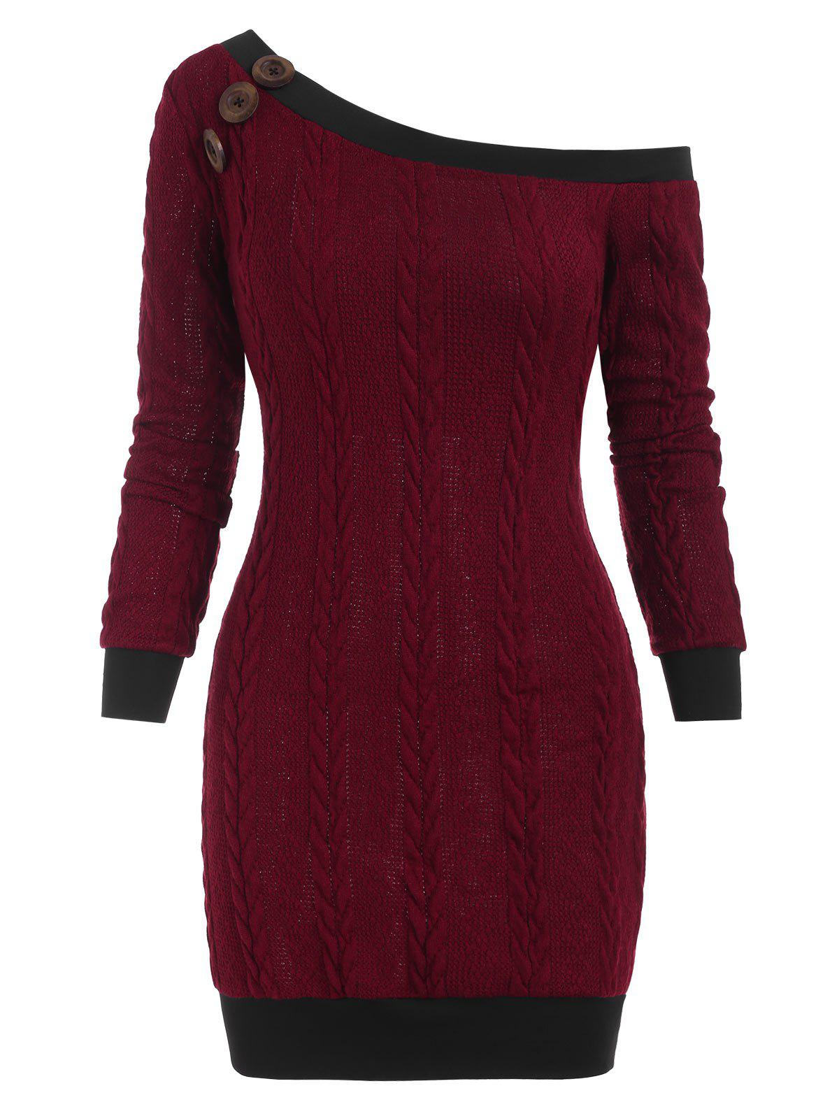 Skew Neck Cable Knit Mini Sweater Dress - DEEP RED 3XL