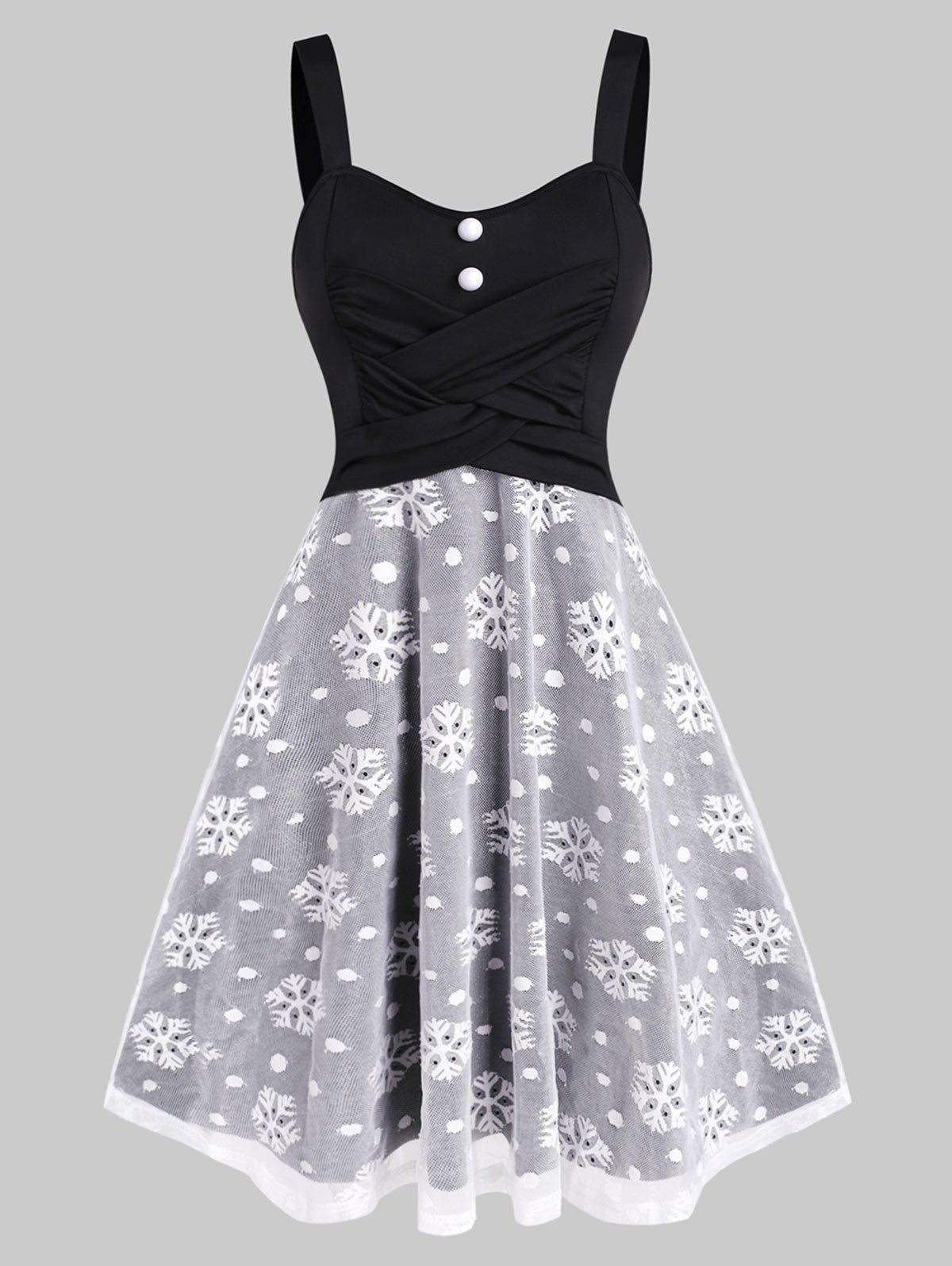 Christmas Snowflake Mesh Crossover Dress - BLACK 2XL