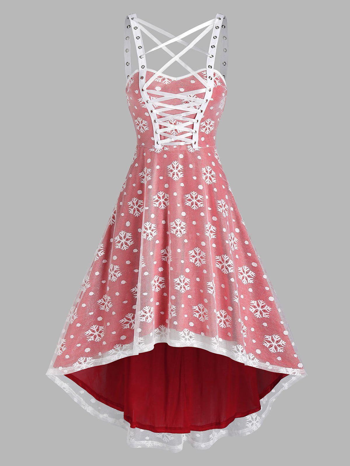 Christmas Snowflake Pattern Sleeveless High Low Lace Dress - RED 3XL