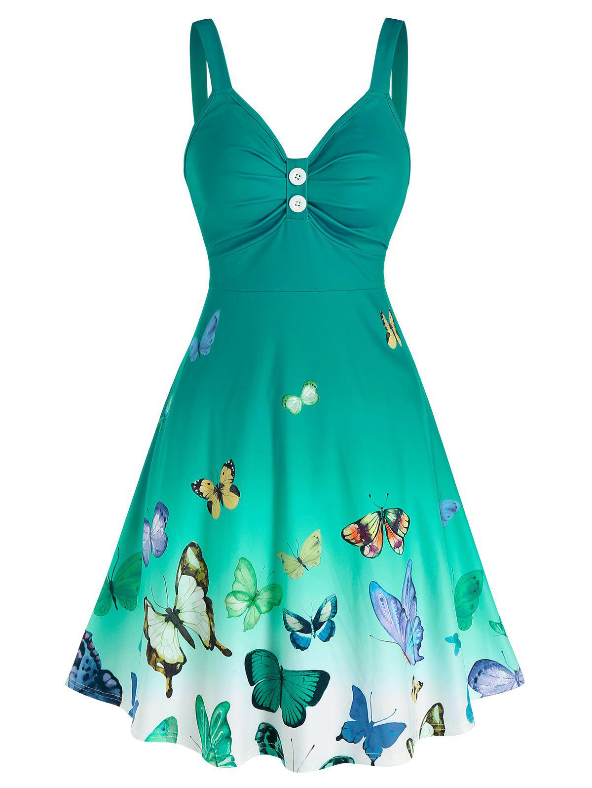 Ruched Butterfly Print Ombre Color Dress - LIGHT GREEN M