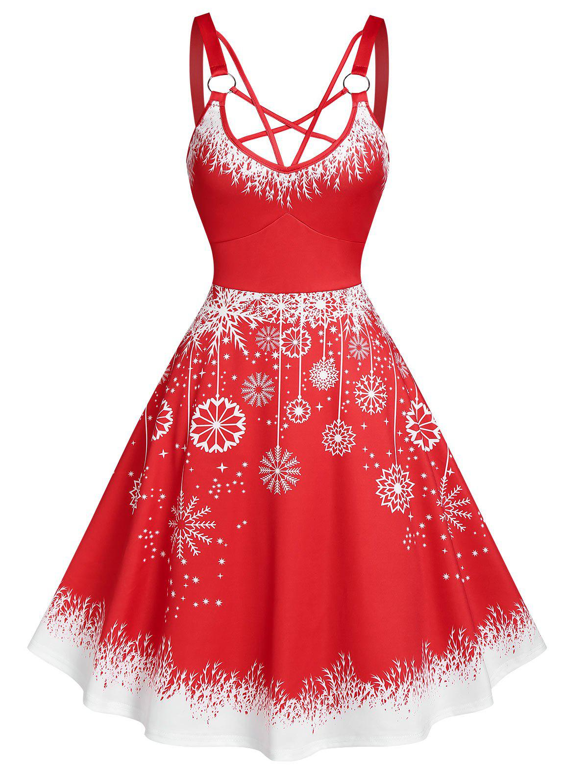 Robe à Bretelle de Noël Flocon de Neige Imprimé - Rouge 2XL