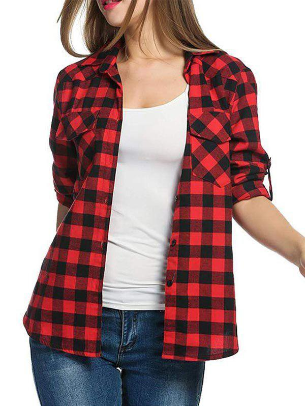 Gingham Pocket Roll Up Sleeve Shirt - RED 2XL