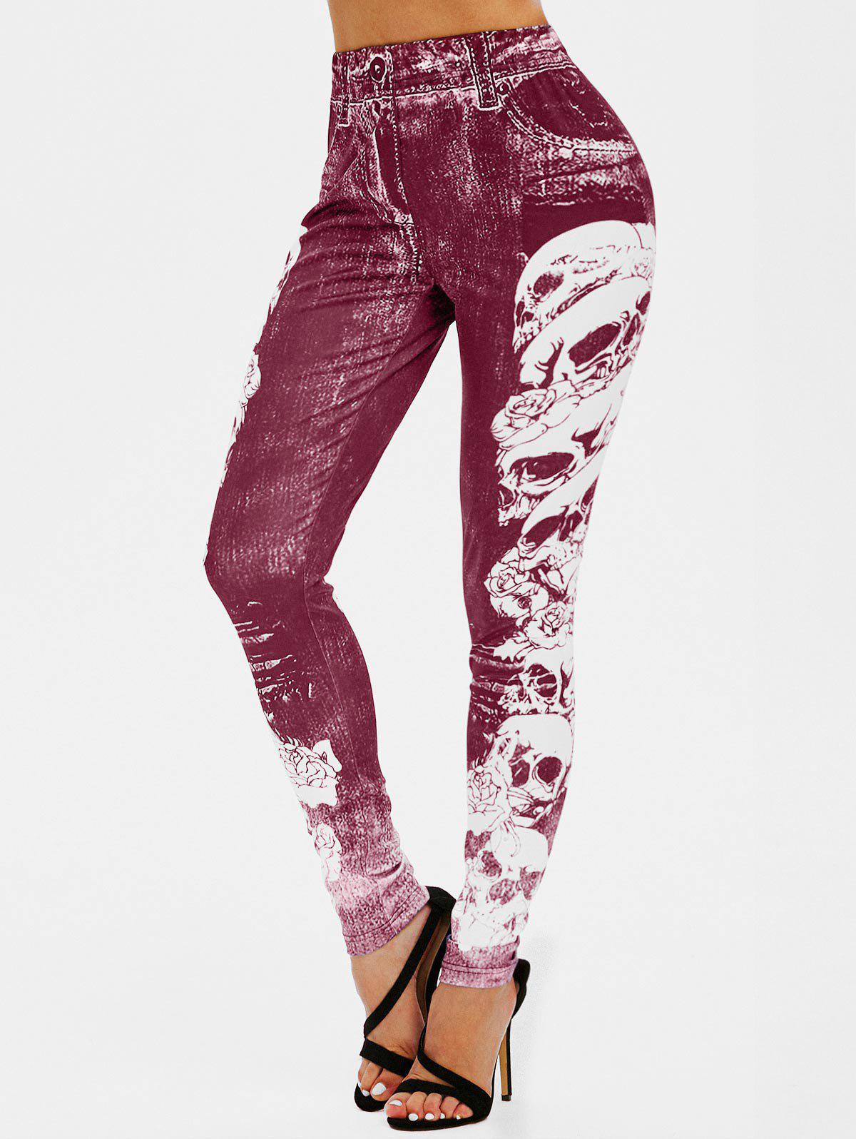 3D Skull Print High Waisted Skinny Leggings - RED WINE 3XL