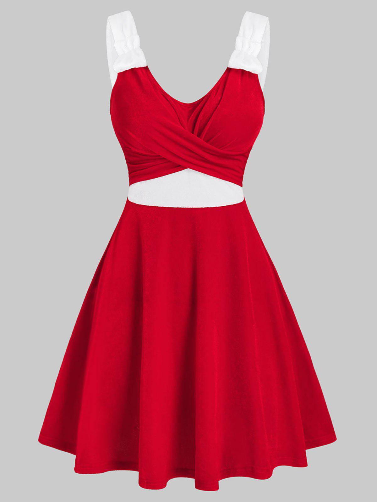 Christmas Crossover Front Contrast Velour Dress - RED M