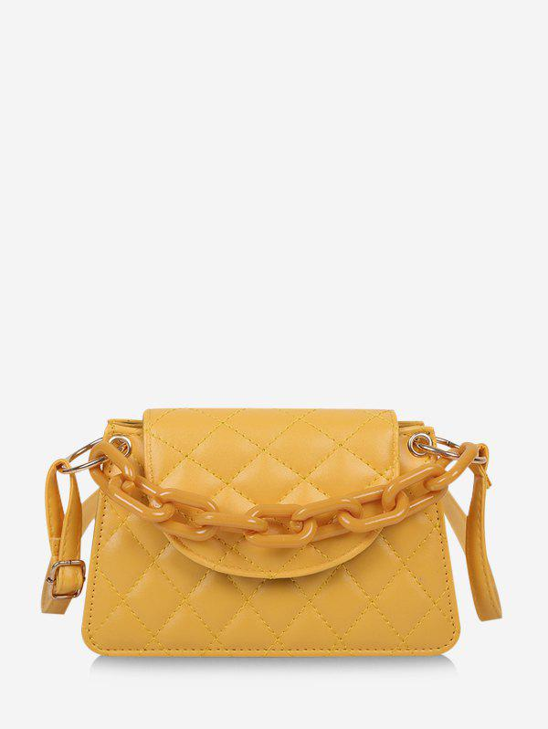 Rhombus Pattern Quilted Crossbody Bag - YELLOW