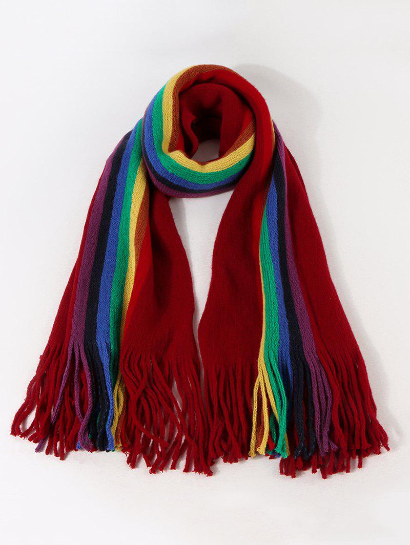 Stripe Rainbow Color Fringe Knitted Scarf - RED WINE