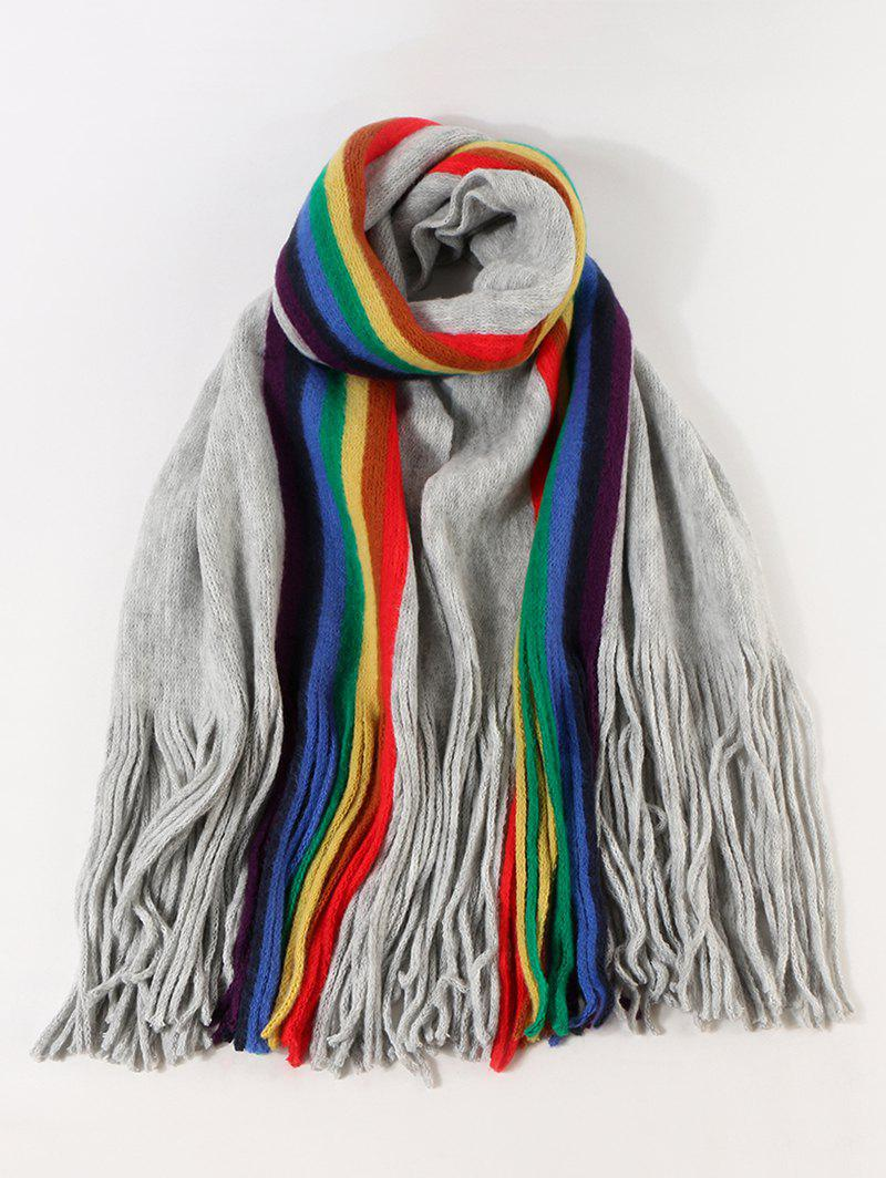 Stripe Rainbow Color Fringe Knitted Scarf - LIGHT SLATE GRAY