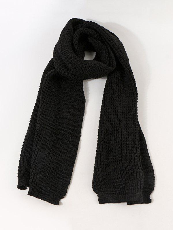 Winter Leather Panel Long Knitted Scarf - BLACK