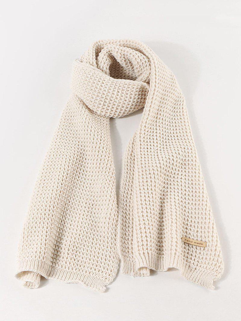 Winter Leather Panel Long Knitted Scarf - WARM WHITE