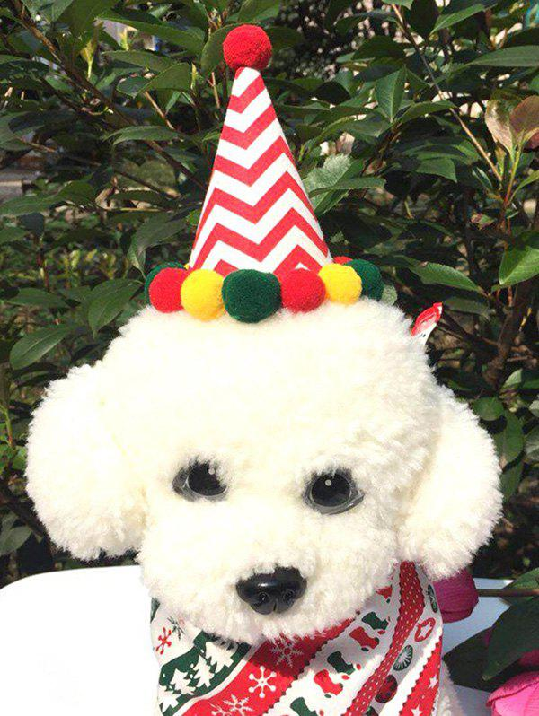 Pet Cosplay Clothes Dog Clothes Christmas Hat and Neck Scarf Set - multicolor A