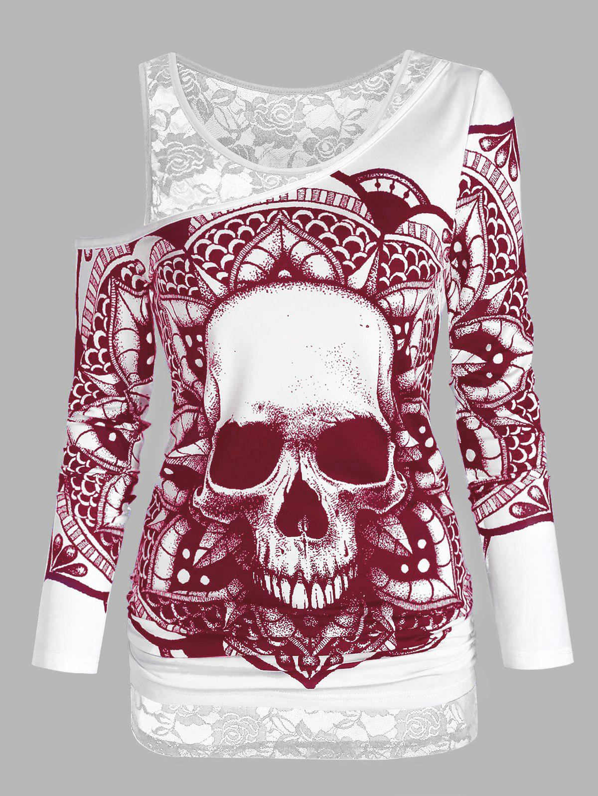 Skull Graphic Sheer Lace Open Shoulder Two Piece T Shirt Sets - RED WINE 2XL
