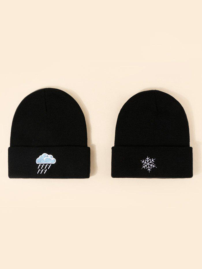 2Pcs Embroidery Snowflake Rain Knitted Hat Set - BLACK