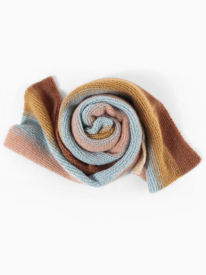 Colorblock Striped Knitted Long Scarf - multicolor C