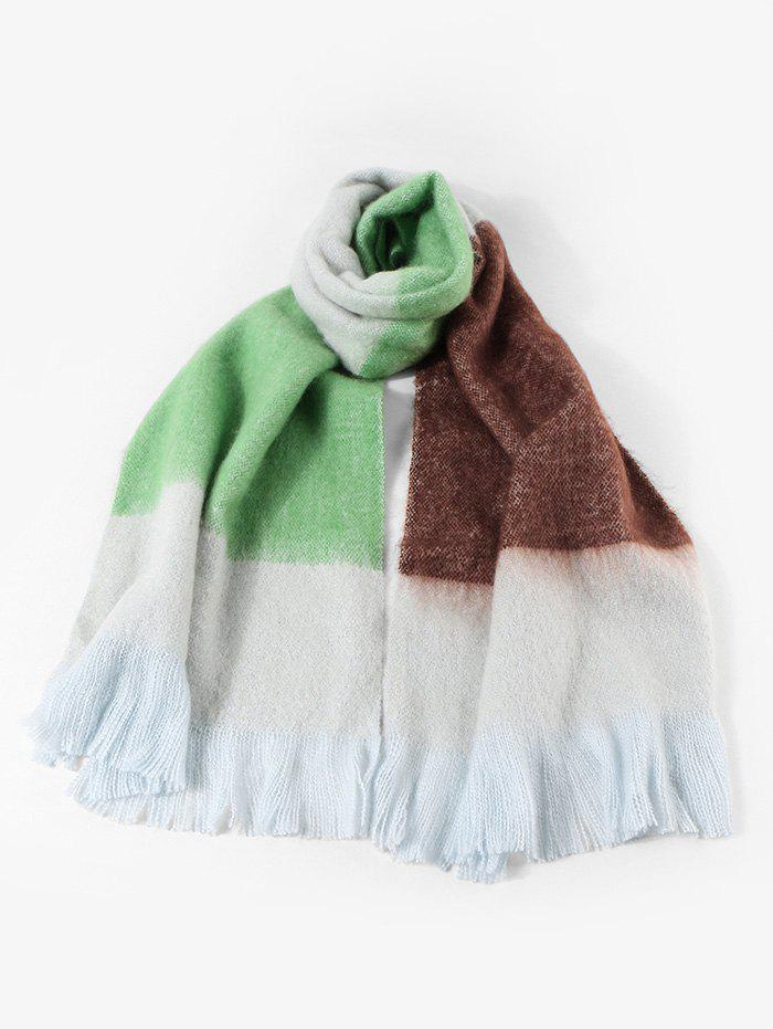 Faux Cashmere Colorblock Fringe Long Scarf - YELLOW GREEN