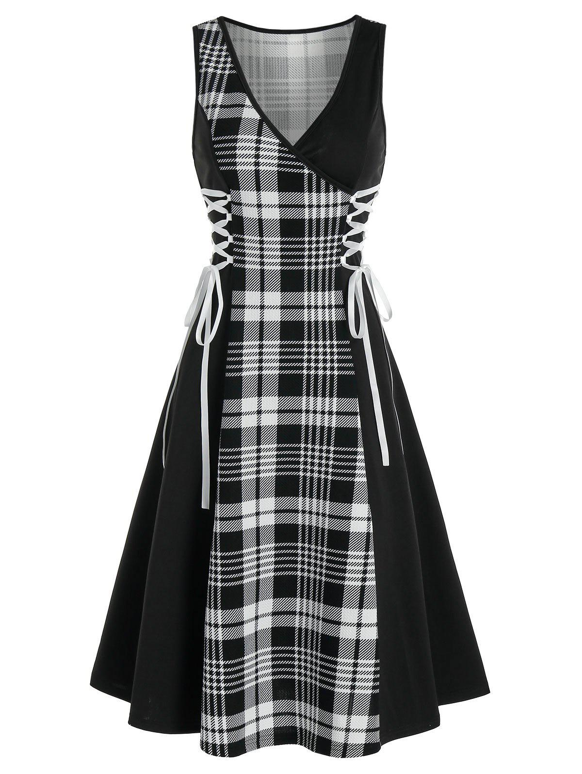 Sleeveless Plaid Print Side Lace-up Dress - BLACK 3XL