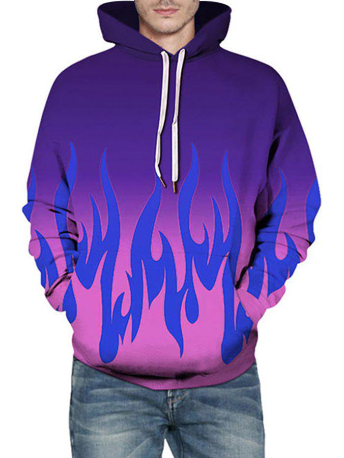 Fire Flame Print Ombre Hoodie - PURPLE 2XL