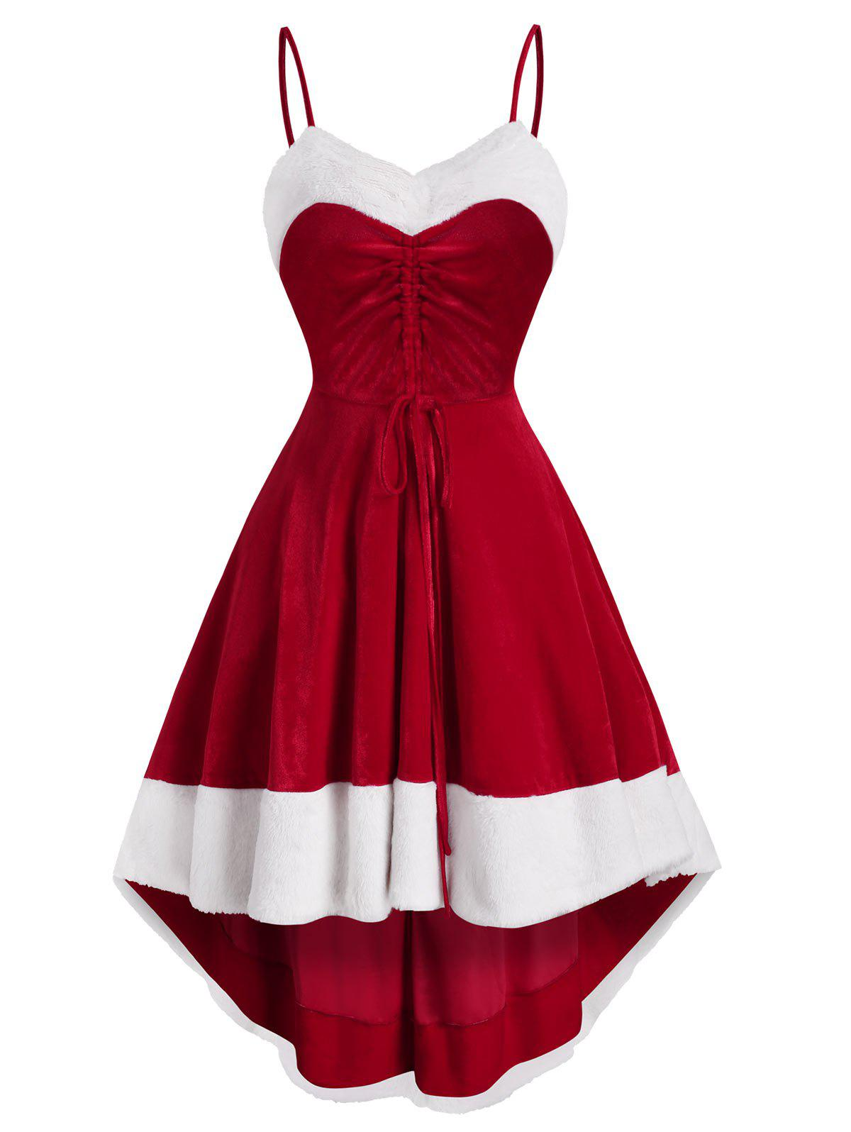 Christmas Velvet Cinched High Low Midi Dress - RED 2XL
