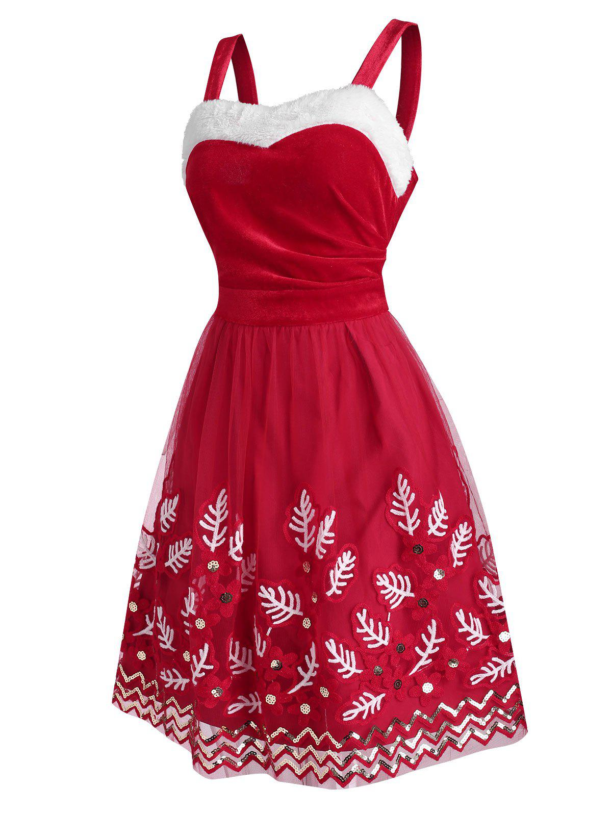 Christmas Leaves Mesh Velvet Sequins Dress - RED 2XL