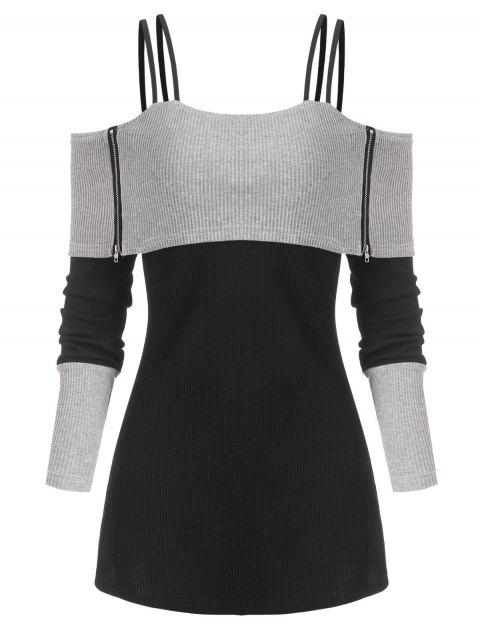 Two Tone Cold Shoulder Zip Foldover Rib Knit Sweater