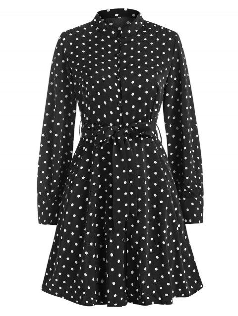 Belted Polka Dot Button Loop Long Sleeve Dress