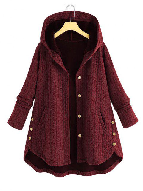 Plus Size Hooded High Low Coat
