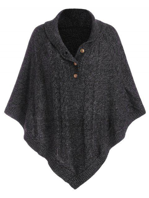 Shawl Collar Cable Knit Heathered Poncho Sweater