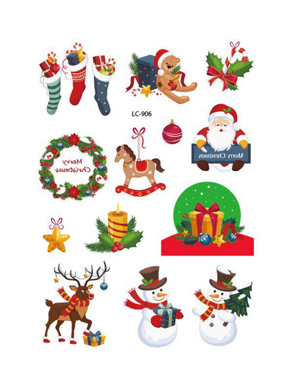 Christmas Snowman Pattern Water Transfer Tattoo Stickers - multicolor