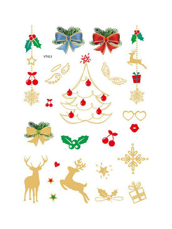 Christmas Tree Foil Print Waterproof Tattoo Stickers - GOLDEN
